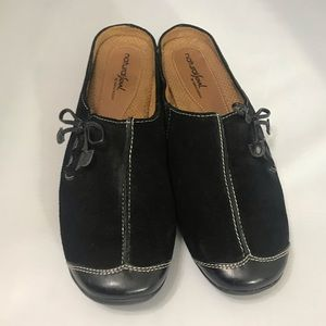 Natural Soul by Naturalizer black suede mules Sz 9